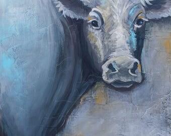 Original Cow Mixed Media Painting, titled 'Moo', modern farmhouse art, modern cow art, farm art, farm animal art