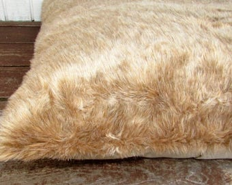 Pet Bed, Duvet Cover Light Teddy Bear Brown Fur, 44 x 29, Canine Cloud Dog Bed Cover, Pet Furniture, Pet Gift