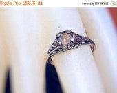 Summer time Sale Event Rare Color Change Alexandrite Ring filigree Sterling Silver genuine green/ raspberry pink handmade 3 4 5 6 7 8 9 10 h