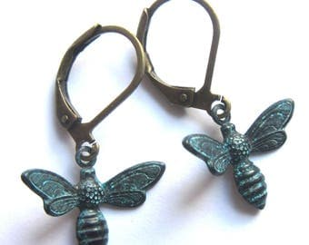 Flying Worker Bee Earrings Verdigris Patina Metal Dangle Fashion Jewellery