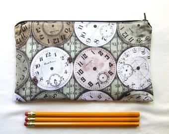 Clocks Fabric Zipper Pouch / Pencil Case / Make Up Bag / Gadget Sack