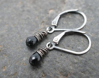 Midnight Earrings - Sparkly Black Spinel Faceted Teardrop and Sterling Silver Earrings