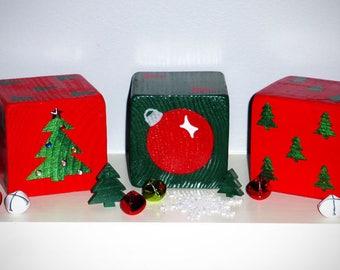 "2 Jumbo 3.5"" Red & Green Christmas XMAS Lawn Yard DICE w/ Tree, Ornament and Rhinestones - Yahtzee, Bunco, Home Decor"