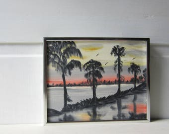 Vintage Oil Painting Tropical Landscape - Sunset Palm Tree - 8 x 10 - Framed Signed Painting - Guinn