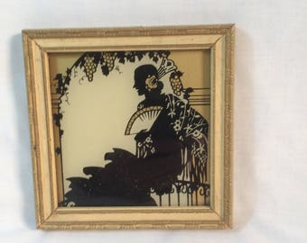 Vintage 1937 Silhouette Spanish Lady Sitting Under a Grape Arbor Framed Silhouette