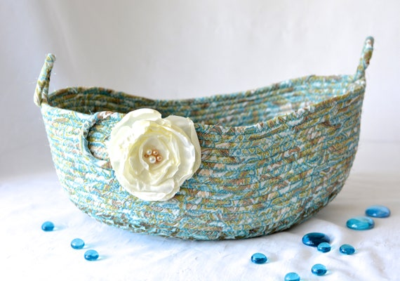 Decorative Aquamarine Basket, Handmade Designer Basket, Hostess Gift, Unique Gift Basket, Coiled Fabric Basket, Bathroom Decoration