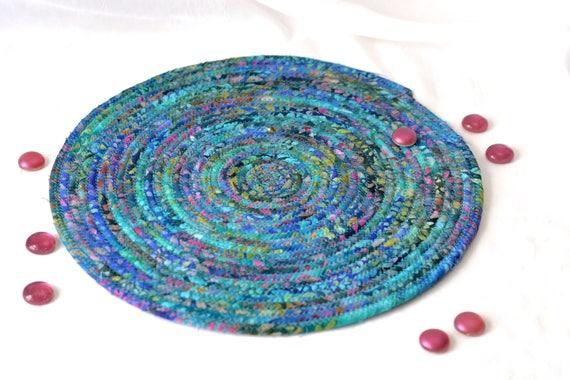 "Artisan Batik Place Mat, 12"" Handmade Blue Fabric Hot Pad, Beautiful Trivet, Table Topper, Blue Batik Coiled Potholder,  Trivet, Placemat"