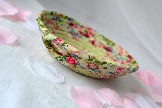 Shabby Chic Easter Basket, English Garden Floral Bowl, Green Floral Ring Dish, Handmade Makeup Organizer, Gift Basket, Spring Bowl