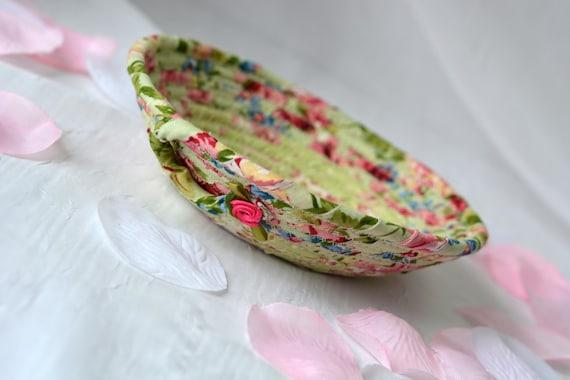 Shabby Chic Easter Basket, English Garden Floral Bowl, Green Floral Ring Dish, Handmade Makeup Organizer, Gift Basket, Spring Bowl