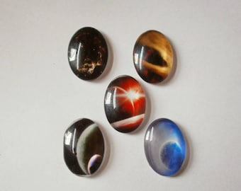 2 - Set of 5 stars 25 * 18 mm glass dome cabochons