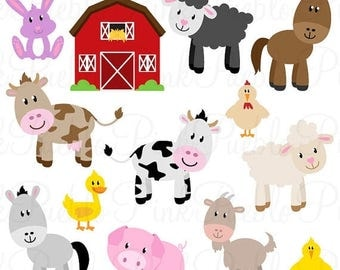 BACK TO SCHOOL Sale Farm Animals SVGs, Barnyard Animals and Barn Cutting Templates - Commercial and Personal Use