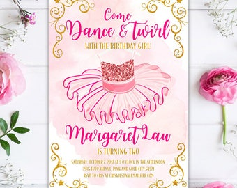 Dance and Twirl Tutu Ballerina Birthday Party Invitation, Pink and Gold Glitter Tutu Ballerina Princess Printable Birthday Party Invite