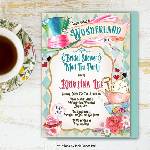 Alice in wonderland tea party bridal shower invitation mad hatter il570xn filmwisefo