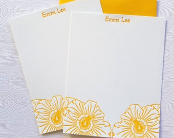 Hibiscus Letterpress Stationery Personalized Honey Gold
