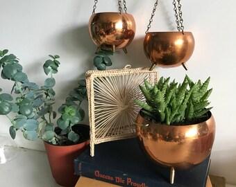 Mid Century Copper Planters- Set of 3