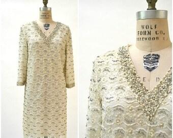 SALE Vintage 60s Lace Dress Sequin Dress Large Metallic Cream Rhinestone Beaded Lace Dress Wedding Dress Size Large