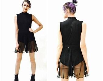 SALE Vintage Black Sheer Shorts Chiffon Transparent Shorts Skort Dancer Showgirl Burlesque Size Small