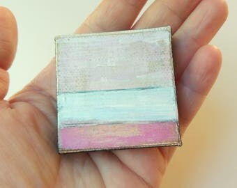 """Abstract Mini Painting: Miniature 2x2"""" Original Art, Mini painting Mixed media Landscape Art Contemporary Art, pink, white, """"Abstraction IV"""""""