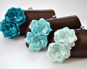 Brown and Aqua blue wedding - Bridal clutch/Bridesmaid clutch /Wedding clutch/Prom clutch/Custom clutch