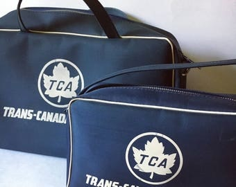 60s vintage Trans Canada Airlines carry on luggage set of 2 canvas zippered bags