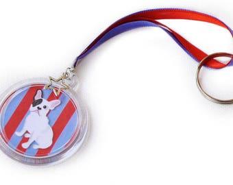 "Red and blue stripes ""Bulldog"" keychain, girl accessory, dog Keychain, Bulldog."