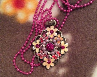 crystal beaded necklace floral hand painted pink and white