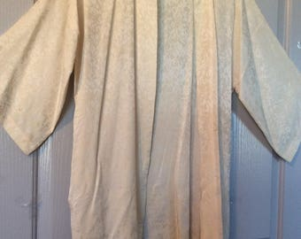 Silk satin robe kimono duster Chinese cover up Ricardo Lenzi 60s/Flaw see details
