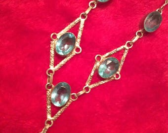 Blue topaz necklace sterling silver/6 Stones