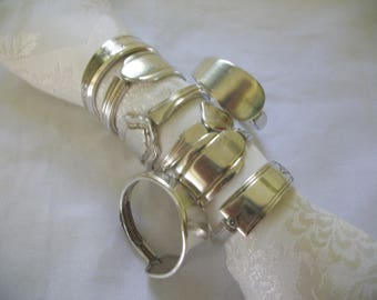 8 assorted napkin rings made from antique silverware 3.50 each