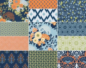 SALE 10% Off - HALF YARD Bundle (Fountain palette)  - Botanique - Joel Dewberry  - Free Spirit Fabric - 12 pieces