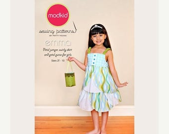 SALE 10% Off - Modkid Sewing Pattern by Patty Young - EMMA - Sz 2T - 10 - Petal Jumper, Twirl Skirt and Petal Purse Sewing Pattern - Girls S