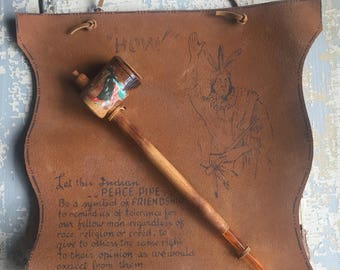 VINTAGE Leather Souvenir Indian Peace Pipe Wall Hanging - Native American