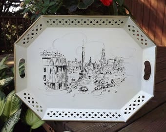Bar Tray, Vintage Metal Tray, Large Serving Tray, Trafalgar Square London England, Vintage Nashco Tray, Handpainted Tray, Large Tin Tray