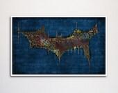 """Batman Dark Knight word art print - 11x17"""""""