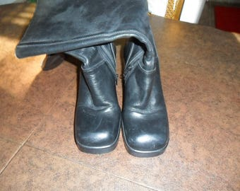 Vintage Black Leather Cycle Riding Boots