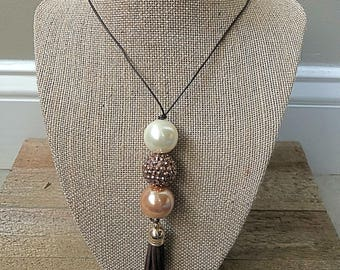 Chunky Bubblegum Bead Necklace with Tassel on Leather Cord