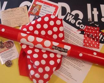 RtR-4. Ultimate Rosie the Riveter DIY Kit--Many Accessories-Bandana, Metal Collar Pin, 2-Sided Poster, Rivets, Recipes, Ration Book...