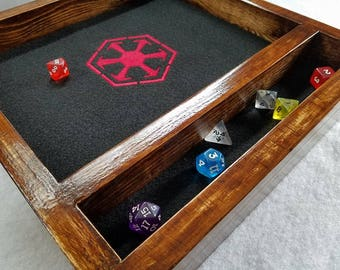 Star Wars Sith Inspired Legendary Dice Rolling Tray -- Natural Real Wood -- Role Playing -- Free shipping lower 48 USA!!!