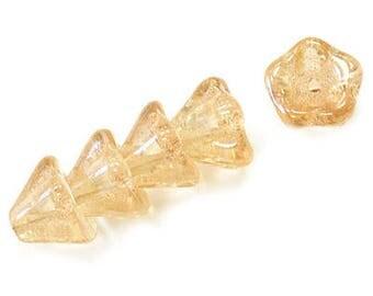 Czech  Glass Beads, 11 X 13mm, French Vanilla Bell Flower , Qty: 10