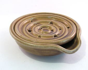 Soap Dish - Drain Tray - Tan Soap Dish - One Piece Soap Saver- Kitchen or Bath - Soap Drainer - Handmade Pottery - Tan Brown
