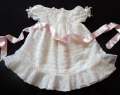 Vintage French Handmade Toddlers Dress with Lace and Tucks