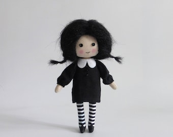 rag doll, tiny goth doll, art doll, Wednesday Addams-style doll, emo doll, miniature doll, gifts for her, collectors doll