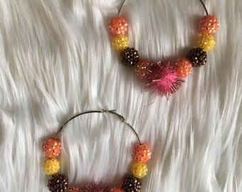 Love and Hip Hop hoops Basketball wives copper fashion hoop lemonade earrings  pom-pom orange yellow brown pink