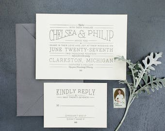 SAMPLE - Typography Letterpress Wedding Invitation