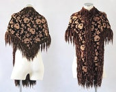 HOLD for Madeleine E. SECOND PAYMENT  Victorian 1800's Cape | Antique Plush Velvet and Floral Embroidered Capelet with Fringe | Brown Shawl