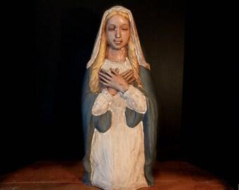 Vintage Papier-Mâché Religious Statue of Mary / Mother Mary / Catholic Icon / Religious Statue / Madonna