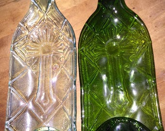 Slumped Wine Bottle Bowl in Green or Clear Cross