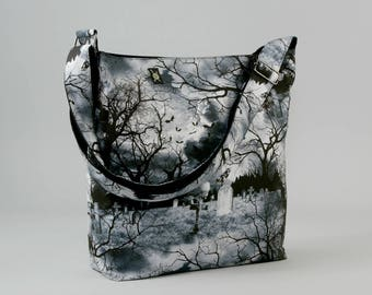 Gothic Graveyard Large Crossbody Bag, Work School Book Bag, Bats Ravens Tombstones, Black White Gray, Fabric Bag with Canvas Liner