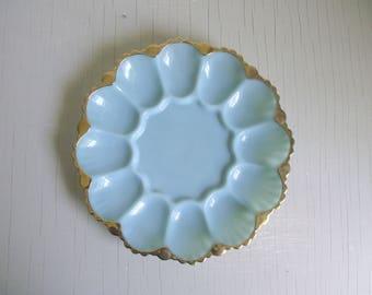 Delphite Blue Milk Glass Egg Plate 22K Gold Rim , Anchor Fire King Glass Oyster Plate , Deviled Egg Tray , Vintage Milk Glass Serving Plate