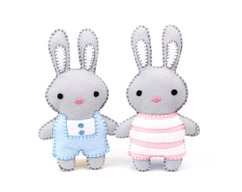 Mini Easter Bunny Stuffed Animal Patterns, Little Rabbit Plushie Patterns, Hand Sewing Softie Patterns, Girl and Boy Bunny
